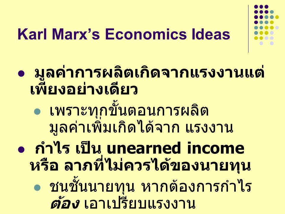 Karl Marx's Economics Ideas มูลค่าการผลิตเกิดจากแรงงานแต่ เพียงอย่างเดียว เพราะทุกขั้นตอนการผลิต มูลค่าเพิ่มเกิดได้จาก แรงงาน กำไร เป็น unearned incom