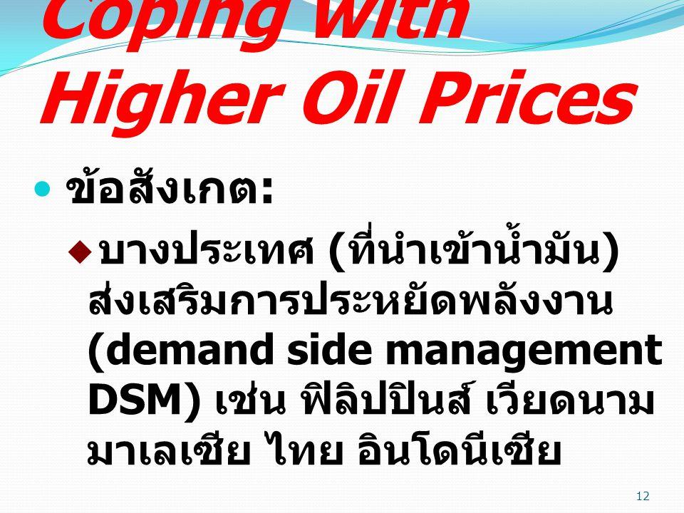 Coping with Higher Oil Prices ข้อสังเกต :  บางประเทศ ( ที่นำเข้าน้ำมัน ) ส่งเสริมการประหยัดพลังงาน (demand side management DSM) เช่น ฟิลิปปินส์ เวียดนาม มาเลเซีย ไทย อินโดนีเซีย 12