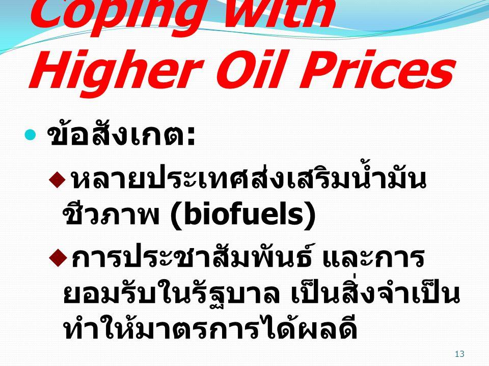 Coping with Higher Oil Prices ข้อสังเกต :  หลายประเทศส่งเสริมน้ำมัน ชีวภาพ (biofuels)  การประชาสัมพันธ์ และการ ยอมรับในรัฐบาล เป็นสิ่งจำเป็น ทำให้มาตรการได้ผลดี 13