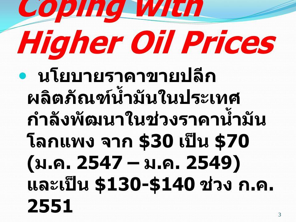 นโยบายราคาขายปลีก ผลิตภัณฑ์น้ำมันในประเทศ กำลังพัฒนาในช่วงราคาน้ำมัน โลกแพง จาก $30 เป็น $70 ( ม.