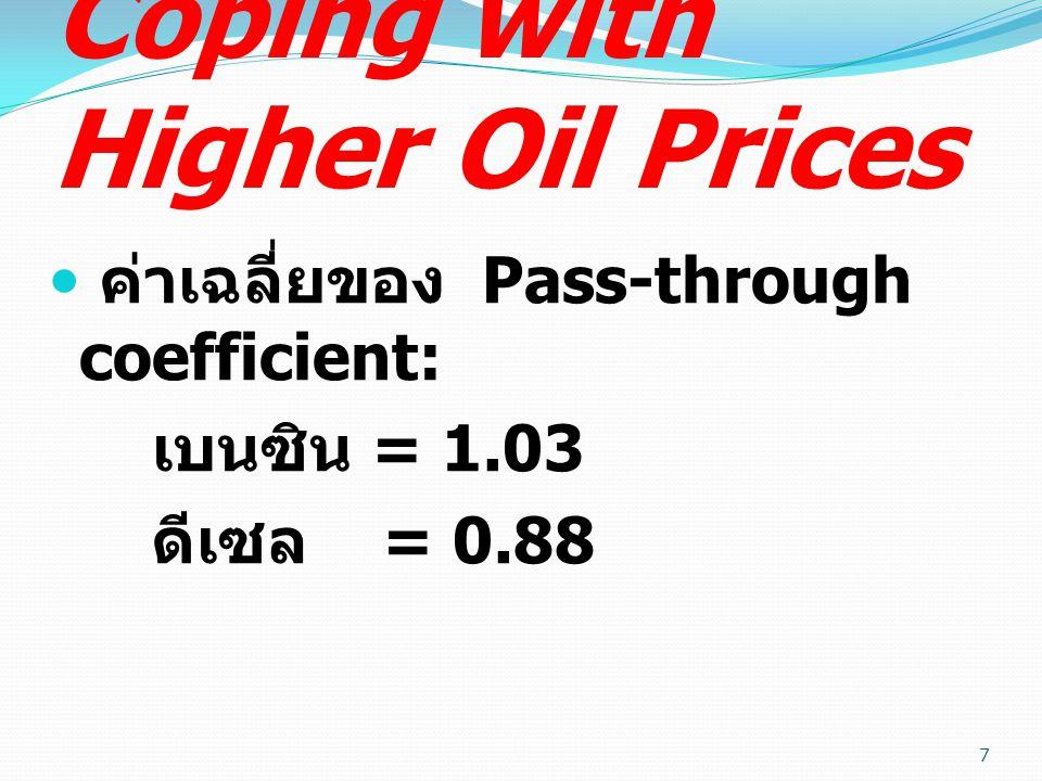 Coping with Higher Oil Prices ปัจจัยที่อธิบายความแตกต่างของ Pass-through coefficient ใน ประเทศต่างๆ ได้ดีที่สุด : กรณีเบนซิน คือ ความเป็นประเทศ ผู้ส่งออกน้ำมัน ( ยิ่งส่งออกมาก ยิ่ง ส่งผ่านน้อย ) 8