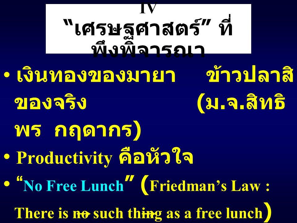 """IV """" เศรษฐศาสตร์ """" ที่ พึงพิจารณา เงินทองของมายา ข้าวปลาสิ ของจริง ( ม. จ. สิทธิ พร กฤดากร ) Productivity คือหัวใจ """" No Free Lunch """" ( Friedman's Law"""