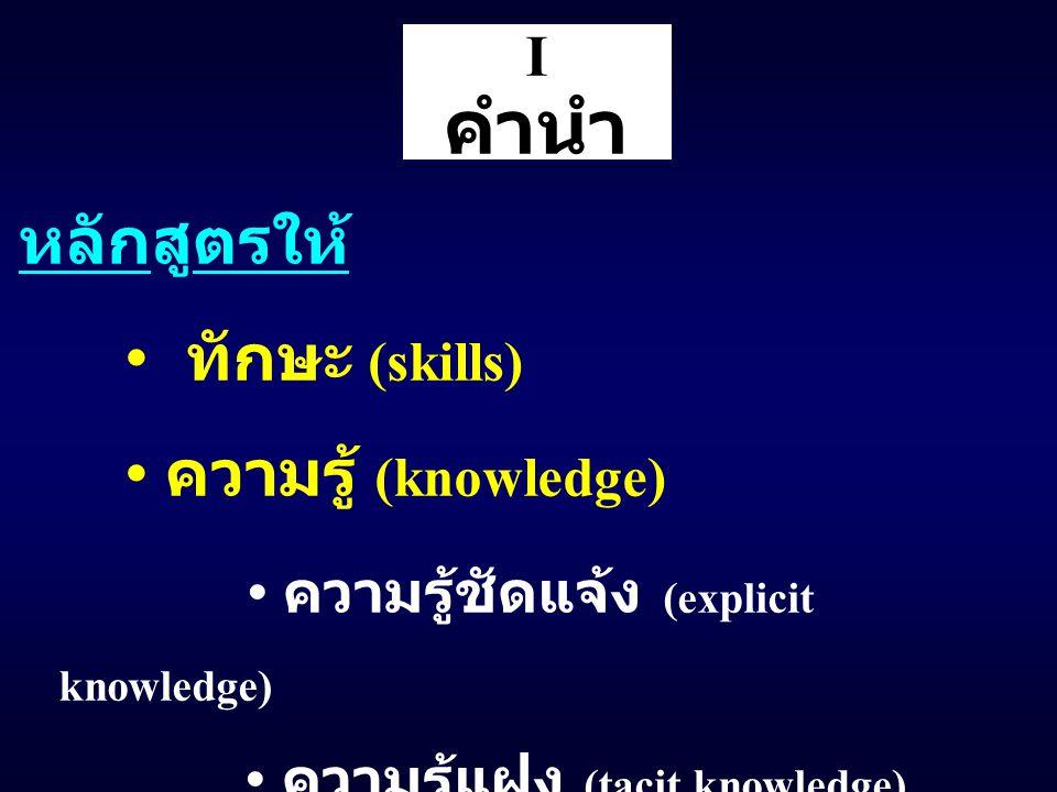 I คำนำ หลักสูตรให้ ทักษะ (skills) ความรู้ (knowledge) ความรู้ชัดแจ้ง (explicit knowledge) ความรู้แฝง (tacit knowledge)