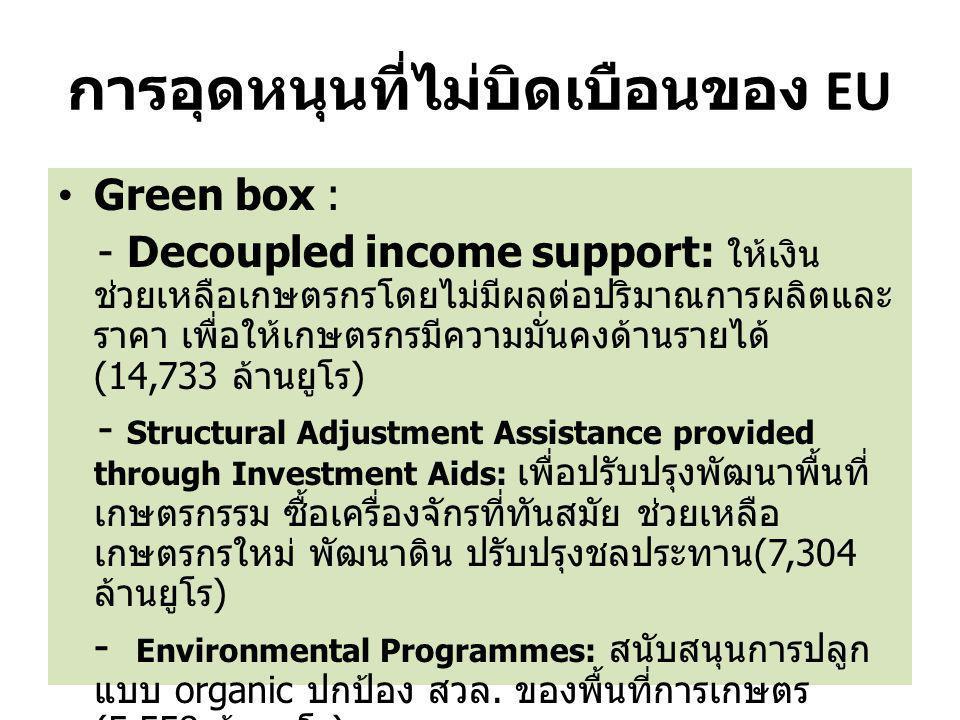 การอุดหนุนที่ไม่บิดเบือนของ EU Green box : - Decoupled income support: ให้เงิน ช่วยเหลือเกษตรกรโดยไม่มีผลต่อปริมาณการผลิตและ ราคา เพื่อให้เกษตรกรมีควา