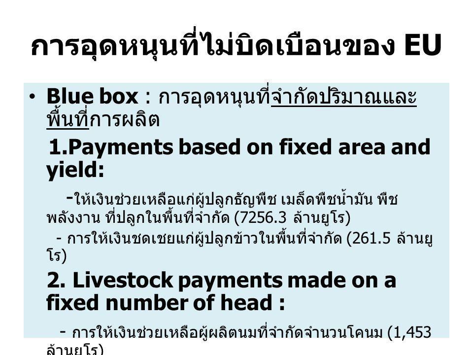 การอุดหนุนที่ไม่บิดเบือนของ EU Blue box : การอุดหนุนที่จำกัดปริมาณและ พื้นที่การผลิต 1.Payments based on fixed area and yield: - ให้เงินช่วยเหลือแก่ผู