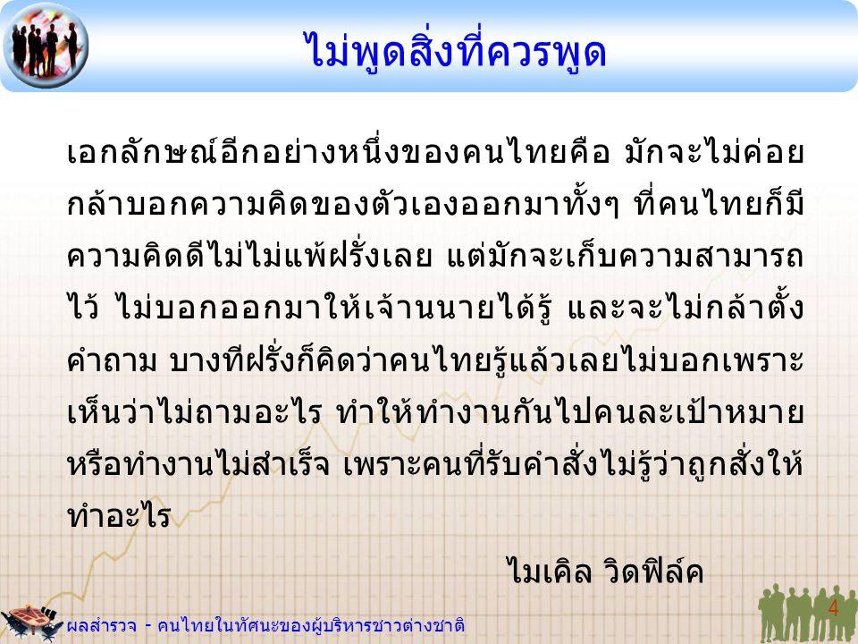 ผลสำรวจ - คนไทยในทัศนะของผู้บริหารชาวต่างชาติ 4 เอกลักษณ์อีกอย่างหนึ่งของคนไทยคือ มักจะไม่ค่อย กล้าบอกความคิดของตัวเองออกมาทั้งๆ ที่คนไทยก็มี ความคิดด