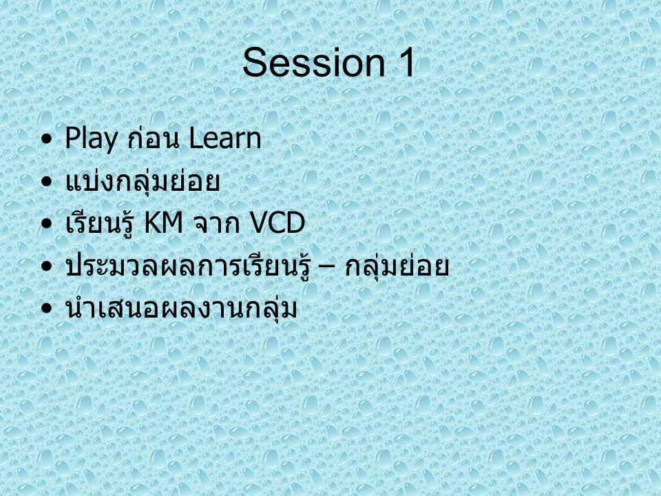 Play ก่อน Learn แบ่งกลุ่มย่อย เรียนรู้ KM จาก VCD ประมวลผลการเรียนรู้ – กลุ่มย่อย นำเสนอผลงานกลุ่ม Session 1