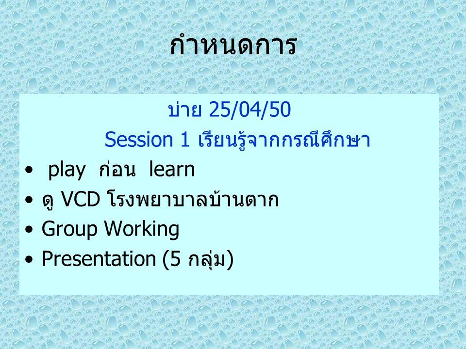 กำหนดการ บ่าย 25/04/50 Session 1 เรียนรู้จากกรณีศึกษา play ก่อน learn ดู VCD โรงพยาบาลบ้านตาก Group Working Presentation (5 กลุ่ม)