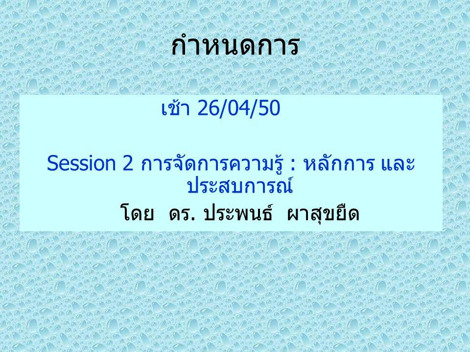 กำหนดการ เช้า 26/04/50 Session 2 การจัดการความรู้ : หลักการ และ ประสบการณ์ โดย ดร. ประพนธ์ ผาสุขยืด