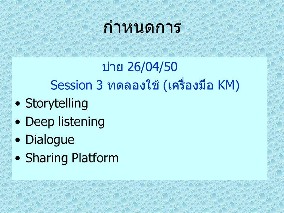 กำหนดการ บ่าย 26/04/50 Session 3 ทดลองใช้ (เครื่องมือ KM) Storytelling Deep listening Dialogue Sharing Platform