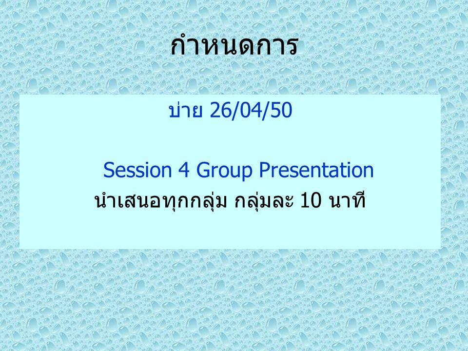 กำหนดการ บ่าย 26/04/50 Session 4 Group Presentation นำเสนอทุกกลุ่ม กลุ่มละ 10 นาที