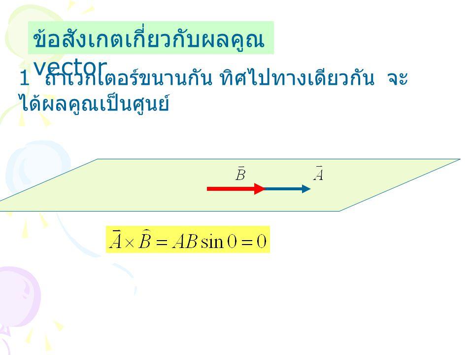 ข้อสังเกตเกี่ยวกับผลคูณ vector 1 ถ้าเวกเตอร์ขนานกัน ทิศไปทางเดียวกัน จะ ได้ผลคูณเป็นศูนย์