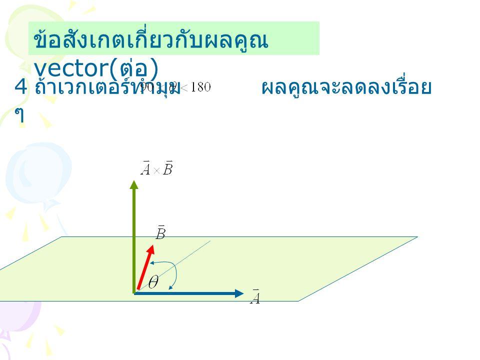 ข้อสังเกตเกี่ยวกับผลคูณ vector( ต่อ ) 4 ถ้าเวกเตอร์ทำมุม ผลคูณจะลดลงเรื่อย ๆ