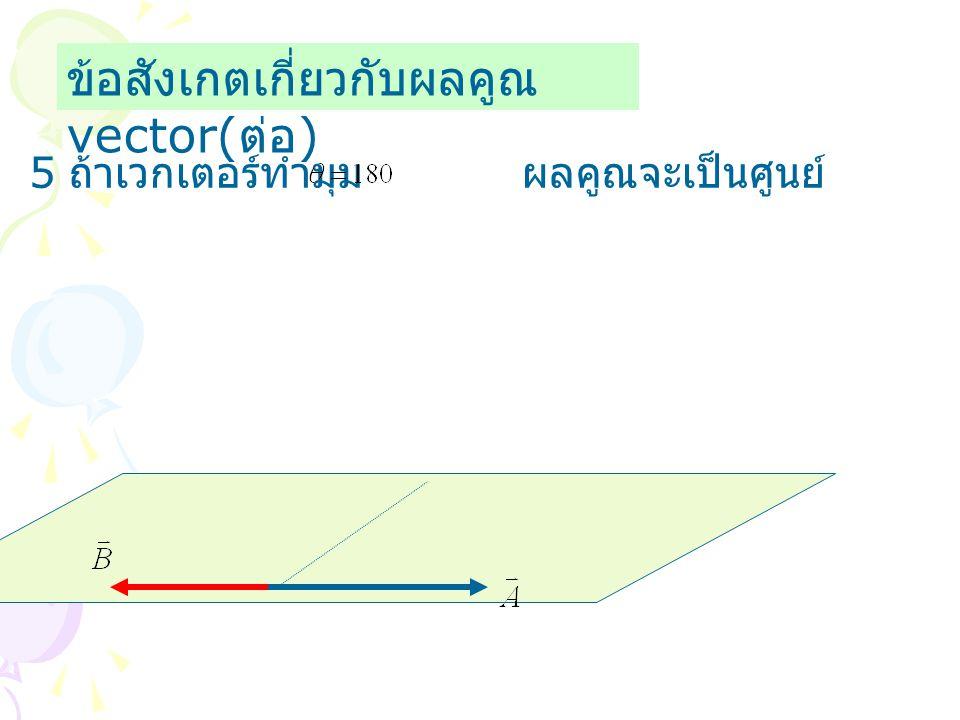 ข้อสังเกตเกี่ยวกับผลคูณ vector( ต่อ ) 5 ถ้าเวกเตอร์ทำมุม ผลคูณจะเป็นศูนย์