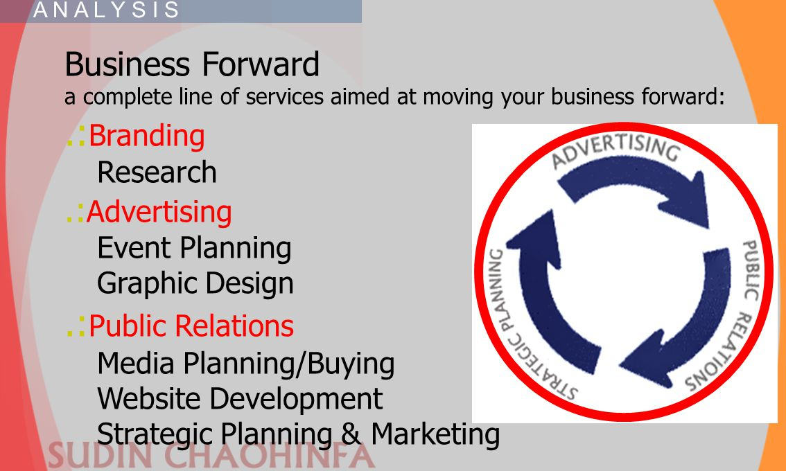 Business Forward a complete line of services aimed at moving your business forward:.: Branding Research.: Advertising Event Planning Graphic Design.: