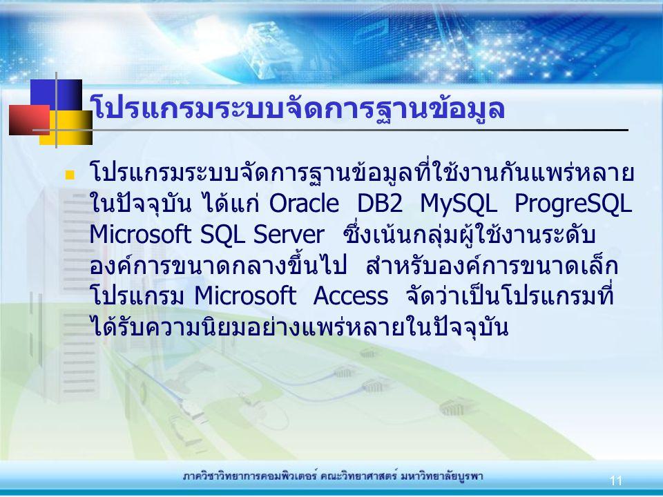 11 โปรแกรมระบบจัดการฐานข้อมูล โปรแกรมระบบจัดการฐานข้อมูลที่ใช้งานกันแพร่หลาย ในปัจจุบัน ได้แก่ Oracle DB2 MySQL ProgreSQL Microsoft SQL Server ซึ่งเน้