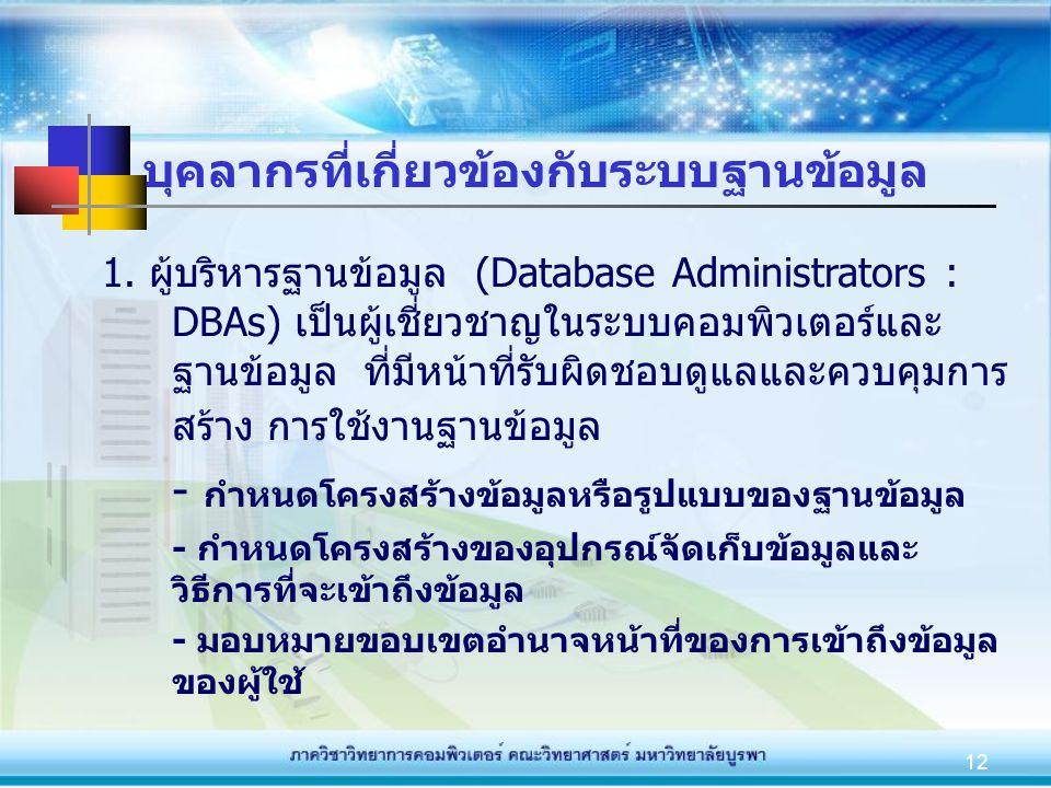 12 บุคลากรที่เกี่ยวข้องกับระบบฐานข้อมูล 1. ผู้บริหารฐานข้อมูล (Database Administrators : DBAs) เป็นผู้เชี่ยวชาญในระบบคอมพิวเตอร์และ ฐานข้อมูล ที่มีหน้