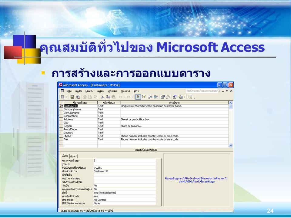 24 คุณสมบัติทั่วไปของ Microsoft Access  การสร้างและการออกแบบตาราง