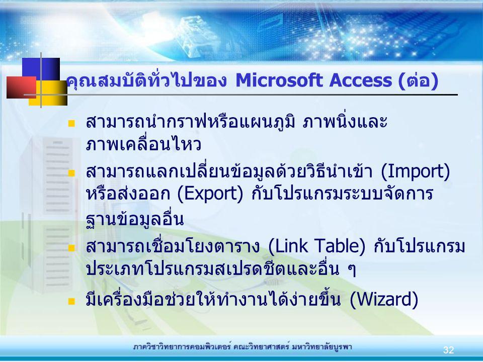 32 คุณสมบัติทั่วไปของ Microsoft Access (ต่อ) สามารถนำกราฟหรือแผนภูมิ ภาพนิ่งและ ภาพเคลื่อนไหว สามารถแลกเปลี่ยนข้อมูลด้วยวิธีนำเข้า (Import) หรือส่งออก