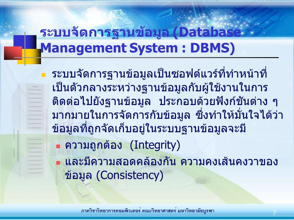 7 ระบบจัดการฐานข้อมูล (Database Management System : DBMS) ระบบจัดการฐานข้อมูลเป็นซอฟต์แวร์ที่ทำหน้าที่ เป็นตัวกลางระหว่างฐานข้อมูลกับผู้ใช้งานในการ ติ