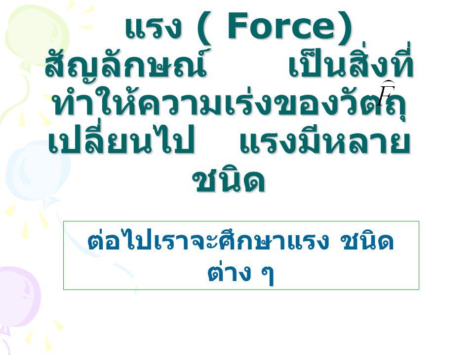 แรง ( Force) สัญลักษณ์ เป็นสิ่งที่ ทำให้ความเร่งของวัตถุ เปลี่ยนไป แรงมีหลาย ชนิด แรง ( Force) สัญลักษณ์ เป็นสิ่งที่ ทำให้ความเร่งของวัตถุ เปลี่ยนไป แ