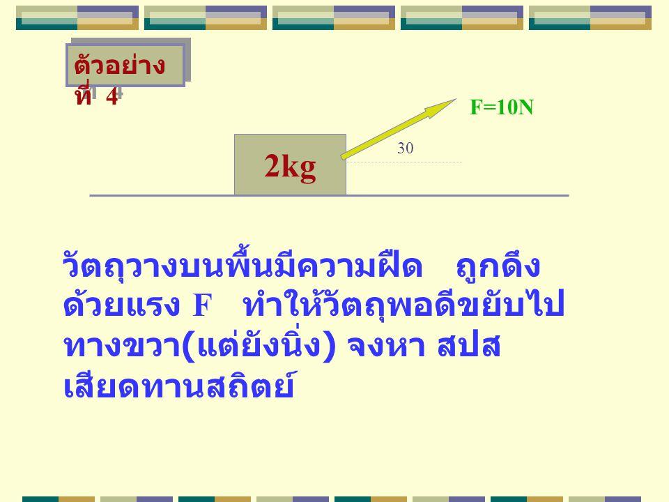 2kg วัตถุวางบนพื้นมีความฝืด ถูกดึง ด้วยแรง F ทำให้วัตถุพอดีขยับไป ทางขวา ( แต่ยังนิ่ง ) จงหา สปส เสียดทานสถิตย์ F=10N ตัวอย่าง ที่ 4 30