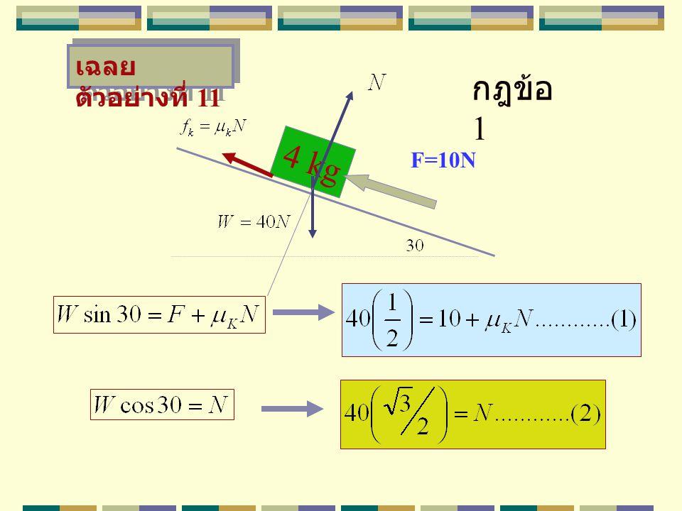 4 kg F=10N เฉลย ตัวอย่างที่ 11 กฎข้อ 1