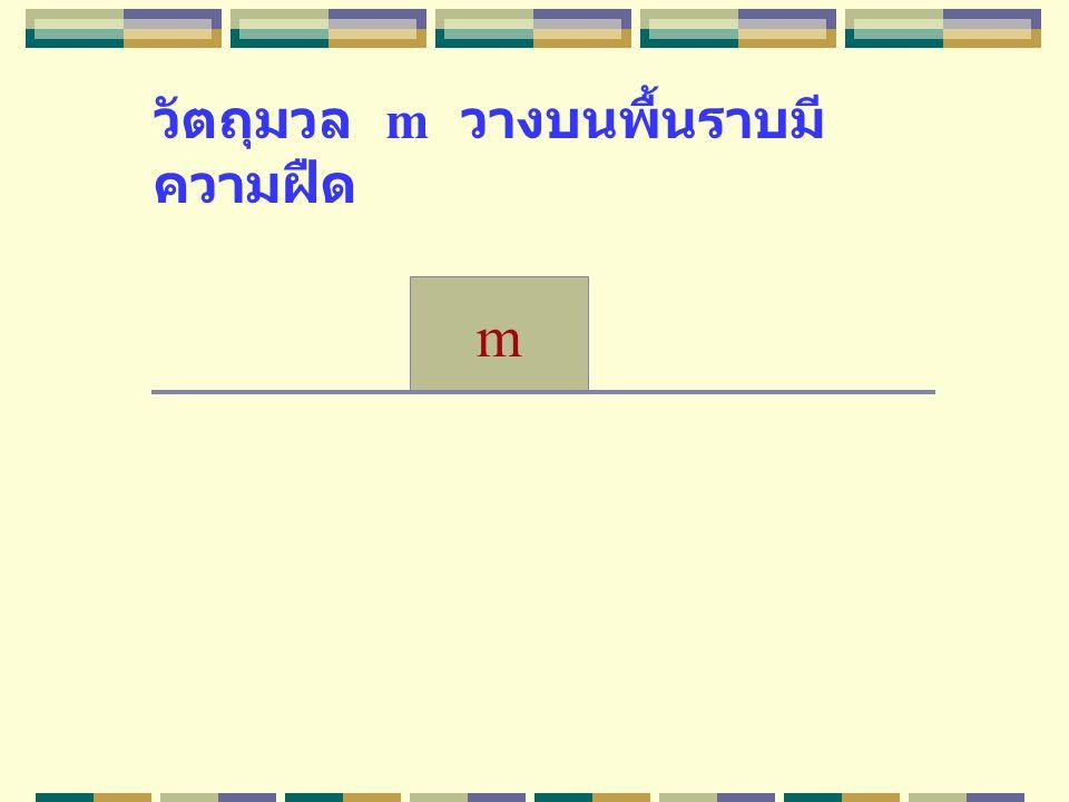 วัตถุมวล m วางบนพื้นราบมี ความฝืด m