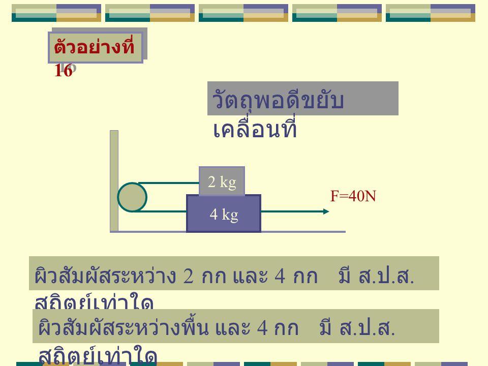 ตัวอย่างที่ 16 4 kg 2 kg F=40N ผิวสัมผัสระหว่าง 2 กก และ 4 กก มี ส. ป. ส. สถิตย์เท่าใด วัตถุพอดีขยับ เคลื่อนที่ ผิวสัมผัสระหว่างพื้น และ 4 กก มี ส. ป.