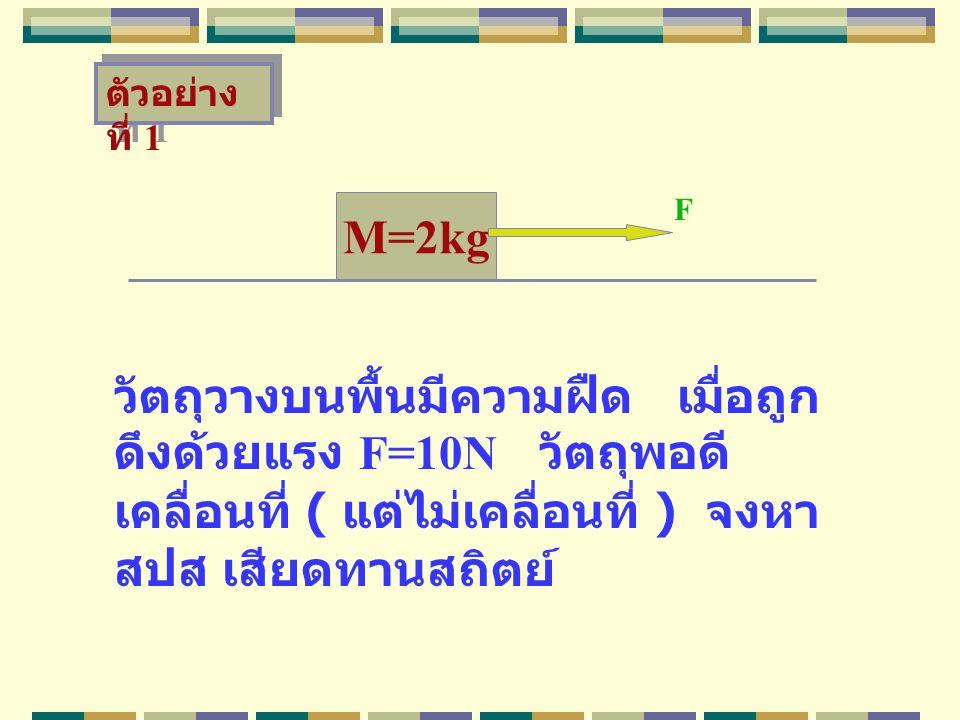 M=2kg วัตถุวางบนพื้นมีความฝืด เมื่อถูก ดึงด้วยแรง F=10N วัตถุพอดี เคลื่อนที่ ( แต่ไม่เคลื่อนที่ ) จงหา สปส เสียดทานสถิตย์ F ตัวอย่าง ที่ 1