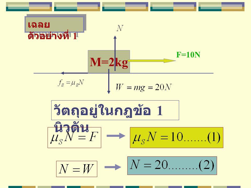 M=2kg วัตถุวางบนพื้นมีความฝืด ถูกดึง ด้วยแรง F ทำให้วัตถุเคลื่อนที่ไป ทางขวาด้วยความเร็วคงที่ จงหา สปส เสียดทานจนล์ F=4N ตัวอย่าง ที่ 5 30 ให้นิสิตทำ เอง