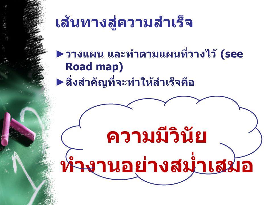 เส้นทางสู่ความสำเร็จ ► วางแผน และทำตามแผนที่วางไว้ (see Road map) ► สิ่งสำคัญที่จะทำให้สำเร็จคือ ความมีวินัย ทำงานอย่างสม่ำเสมอ