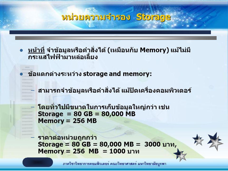 หน่วยความจำรอง Storage