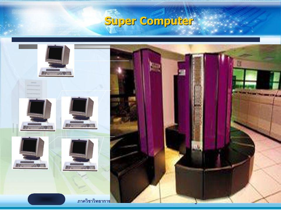 Super Computer จัดเป็นคอมพิวเตอร์ที่มีประสิทธิภาพสูงสุด เทียบได้กับ คอมพิวเตอร์ทั่วไปเป็นพันๆ เครื่อง ใช้ในการประมวลผลข้อมูลที่มีจำนวนมาก และต้องการ ป
