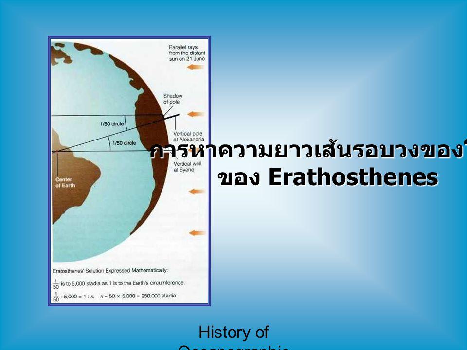 History of Oceanographic Study ยุคการสำรวจทางวิทยาศาสตร์ (7) 1861-1930 : Fridtjof Nansen - มีแนวคิดว่าก้อนน้ำแข็งในเขตขั้วโลก จะ ลอยไปยังบริเวณขั้วโลกได้ - ทดลองโดยให้เรือ Fram ติดอยู่กับ น้ำแข็ง เริ่มเดินทางจาก กรุง Oslo โดยหวังว่าน้ำแข็งจะพาเรือไปที่ ขั้วโลก - 35 เดือนผ่านไปก็ยังห่างจากขั้วโลกอยู่ 300 ไมล์ จึงไปต่อด้วยเลื่อน แต่ก็ไปไม่ถึงจึงคิดกลับ - ทีมสำรวจอื่นมาพบและพากลับถึง Norway ในเดือน สิงหาคม ปี 1896