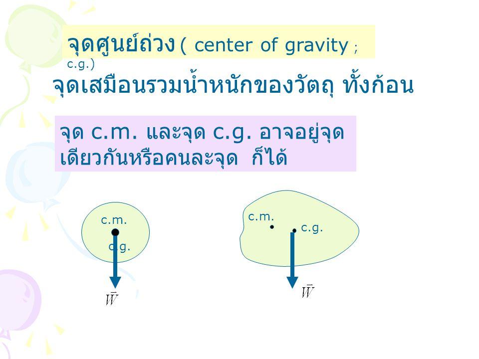 จุดศูนย์ถ่วง ( center of gravity ; c.g.) จุดเสมือนรวมน้ำหนักของวัตถุ ทั้งก้อน จุด c.m. และจุด c.g. อาจอยู่จุด เดียวกันหรือคนละจุด ก็ได้ c.m. c.g. c.m.