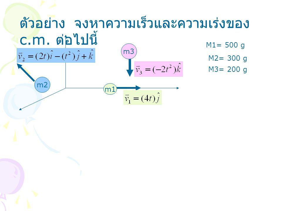 ตัวอย่าง จงหาความเร็วและความเร่งของ c.m. ต่อไปนี้ m1 m2 m3 M1= 500 g M2= 300 g M3= 200 g