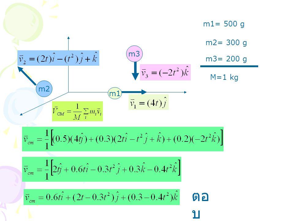 m1 m2 m3 m1= 500 g m2= 300 g m3= 200 g M=1 kg ตอ บ