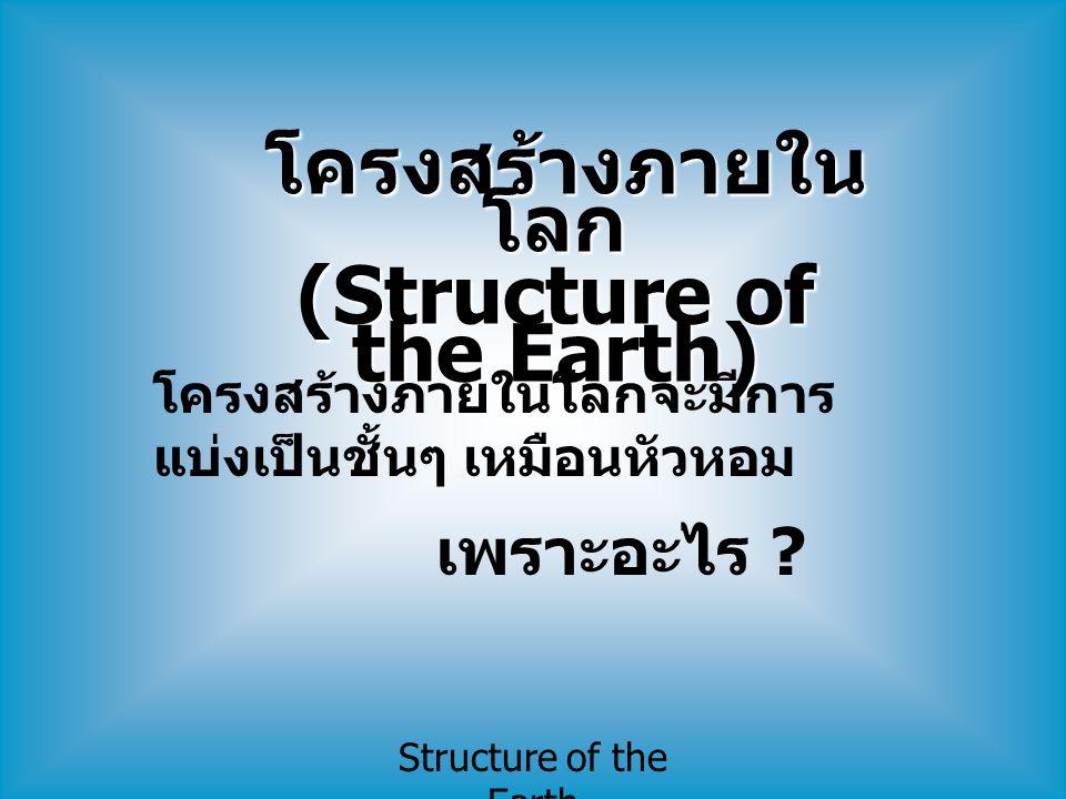 Structure of the Earth โครงสร้างภายใน โลก โครงสร้างภายใน โลก (Structure of the Earth) โครงสร้างภายในโลกจะมีการ แบ่งเป็นชั้นๆ เหมือนหัวหอม เพราะอะไร ?