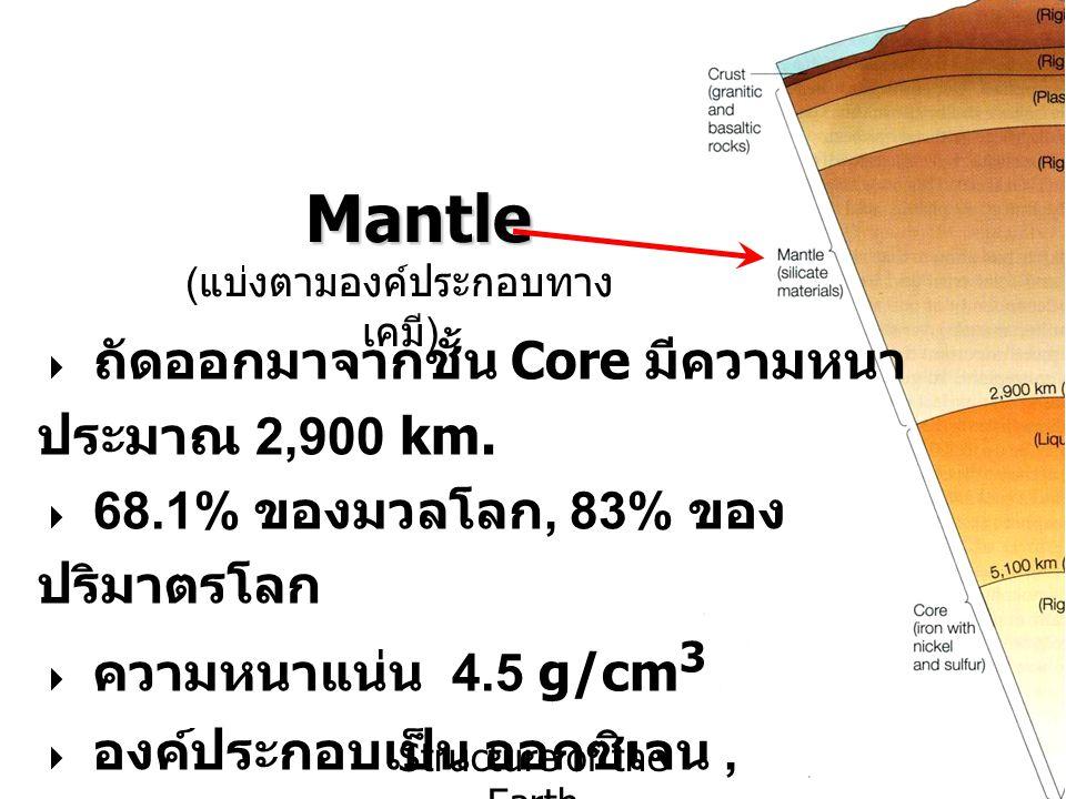 Structure of the Earth Mantle ( แบ่งตามองค์ประกอบทาง เคมี )  ถัดออกมาจากชั้น Core มีความหนา ประมาณ 2,900 km.  68.1% ของมวลโลก, 83% ของ ปริมาตรโลก 