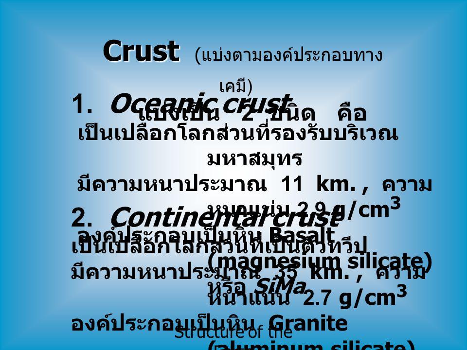 Structure of the Earth Crust Crust ( แบ่งตามองค์ประกอบทาง เคมี ) แบ่งเป็น 2 ชนิด คือ 1. Oceanic crust เป็นเปลือกโลกส่วนที่รองรับบริเวณ มหาสมุทร มีความ