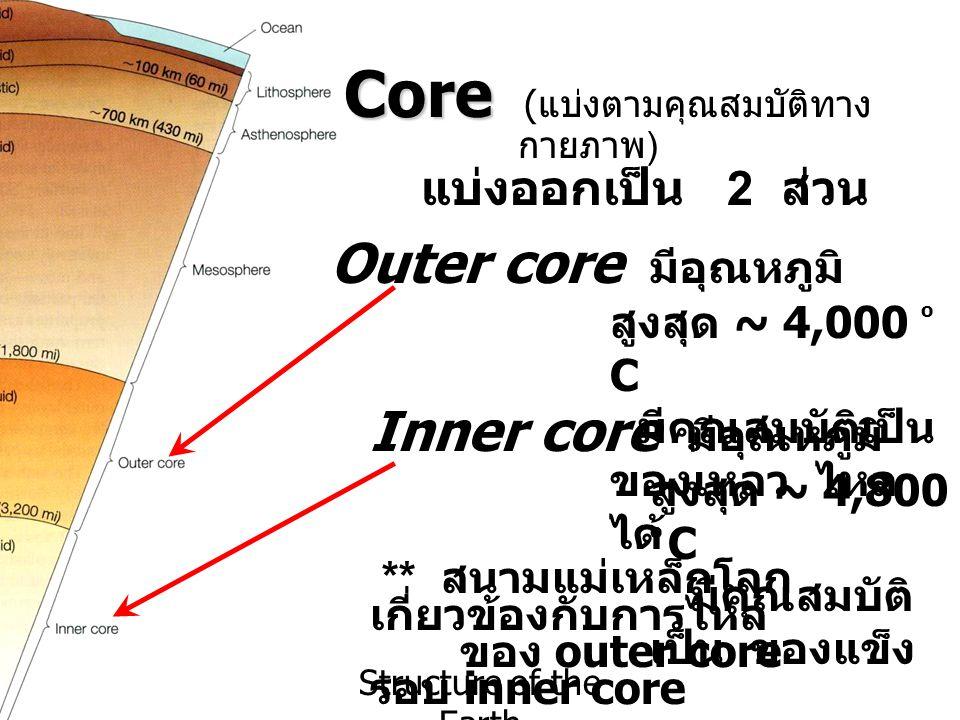 Structure of the Earth Core Core ( แบ่งตามคุณสมบัติทาง กายภาพ ) แบ่งออกเป็น 2 ส่วน Outer core มีอุณหภูมิ สูงสุด ~ 4,000 o C มีคุณสมบัติเป็น ของเหลว ไห