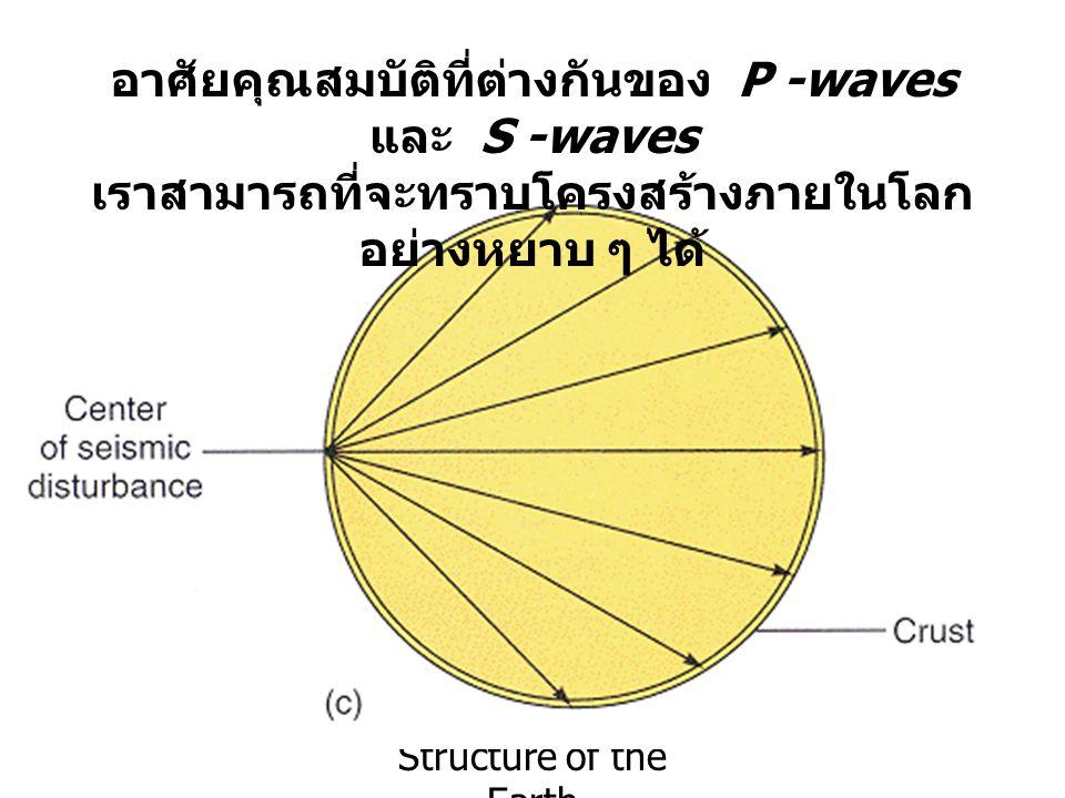 อาศัยคุณสมบัติที่ต่างกันของ P -waves และ S -waves เราสามารถที่จะทราบโครงสร้างภายในโลก อย่างหยาบ ๆ ได้