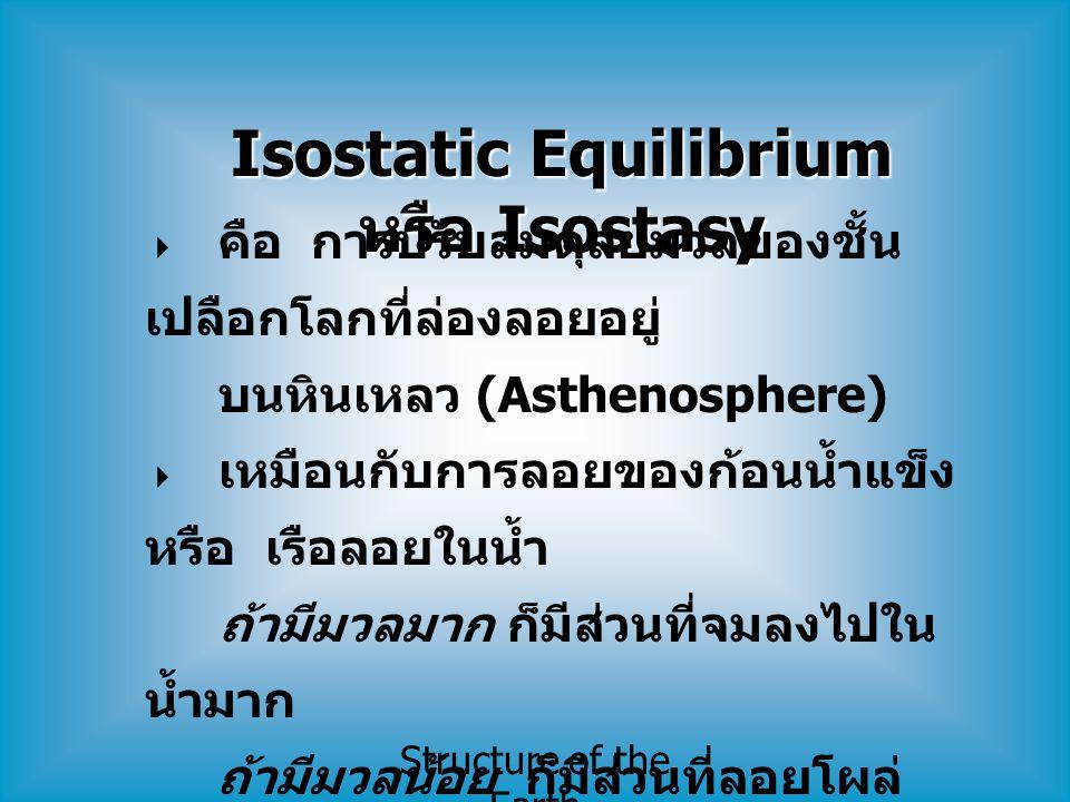 Isostatic Equilibrium หรือ Isostasy  คือ การปรับสมดุลย์มวลของชั้น เปลือกโลกที่ล่องลอยอยู่ บนหินเหลว (Asthenosphere)  เหมือนกับการลอยของก้อนน้ำแข็ง ห