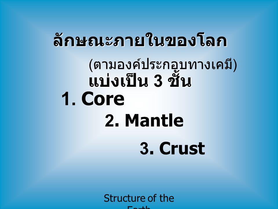Structure of the Earth ลักษณะภายในของโลก แบ่งเป็น 3 ชั้น ( ตามองค์ประกอบทางเคมี ) 1. Core 2. Mantle 3. Crust