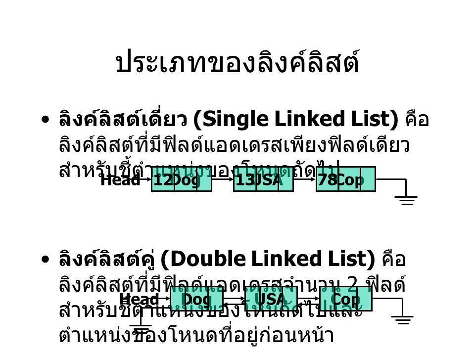 ประเภทของลิงค์ลิสต์ ลิงค์ลิสต์เดี่ยว (Single Linked List) คือ ลิงค์ลิสต์ที่มีฟิลด์แอดเดรสเพียงฟิลด์เดียว สำหรับชี้ตำแหน่งของโหนดถัดไป ลิงค์ลิสต์คู่ (Double Linked List) คือ ลิงค์ลิสต์ที่มีฟิลด์แอดเดรสจำนวน 2 ฟิลด์ สำหรับชี้ตำแหน่งของโหนถัดไปและ ตำแหน่งของโหนดที่อยู่ก่อนหน้า DogUSACop12 Head 1378 DogUSACop Head