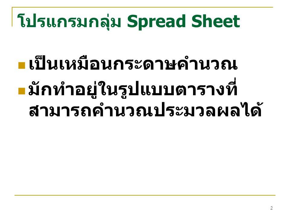 โปรแกรมกลุ่ม Spread Sheet เป็นเหมือนกระดาษคำนวณ มักทำอยู่ในรูปแบบตารางที่ สามารถคำนวณประมวลผลได้ 2