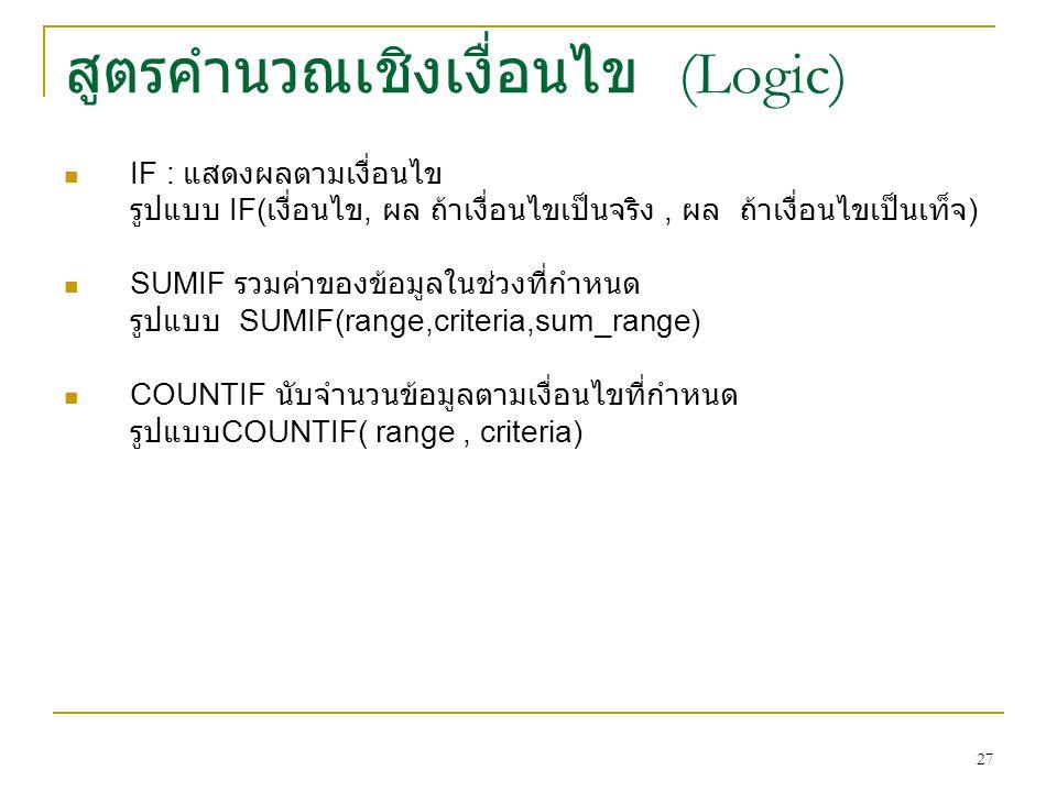 27 สูตรคำนวณเชิงเงื่อนไข (Logic) IF : แสดงผลตามเงื่อนไข รูปแบบ IF( เงื่อนไข, ผล ถ้าเงื่อนไขเป็นจริง, ผล ถ้าเงื่อนไขเป็นเท็จ ) SUMIF รวมค่าของข้อมูลในช่วงที่กำหนด รูปแบบ SUMIF(range,criteria,sum_range) COUNTIF นับจำนวนข้อมูลตามเงื่อนไขที่กำหนด รูปแบบ COUNTIF( range, criteria)