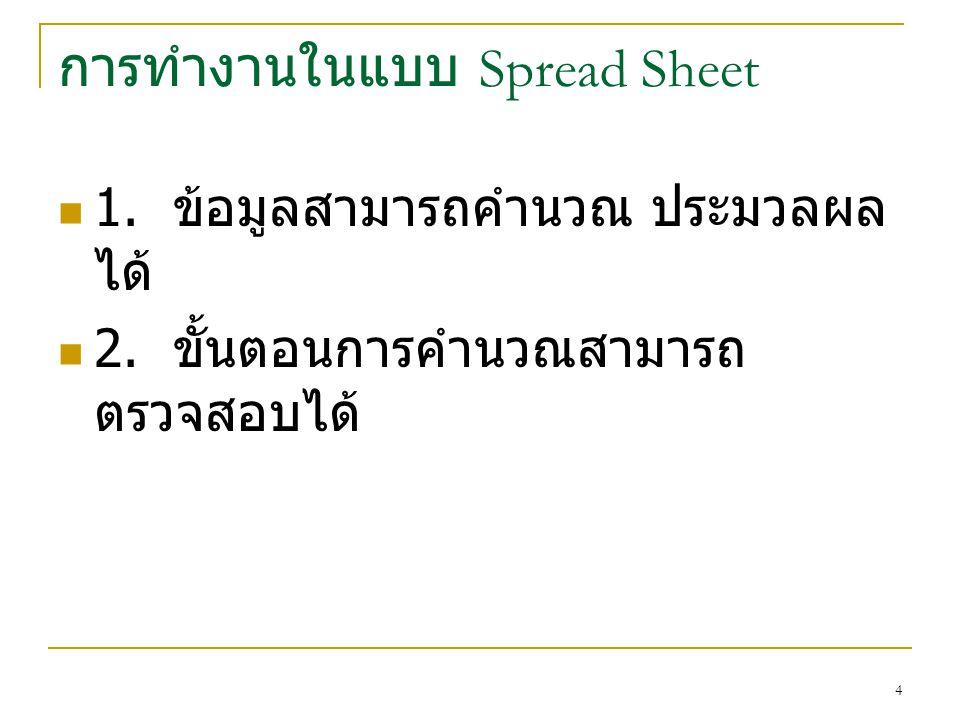 การทำงานในแบบ Spread Sheet 1. ข้อมูลสามารถคำนวณ ประมวลผล ได้ 2. ขั้นตอนการคำนวณสามารถ ตรวจสอบได้ 4