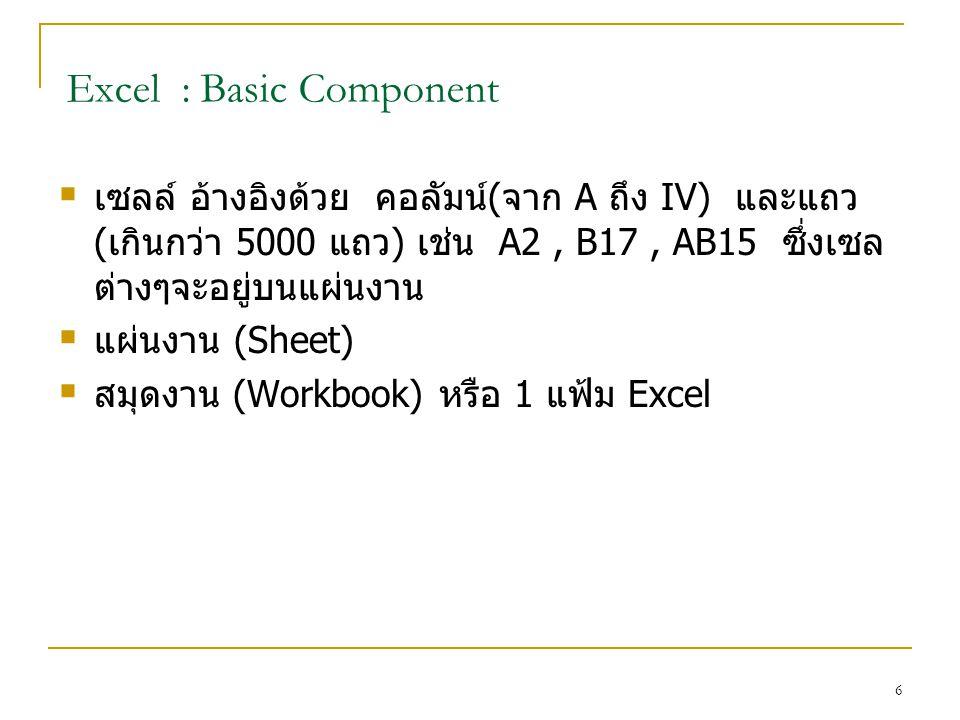 6 Excel : Basic Component  เซลล์ อ้างอิงด้วย คอลัมน์(จาก A ถึง IV) และแถว (เกินกว่า 5000 แถว) เช่น A2, B17, AB15 ซึ่งเซล ต่างๆจะอยู่บนแผ่นงาน  แผ่นงาน (Sheet)  สมุดงาน (Workbook) หรือ 1 แฟ้ม Excel